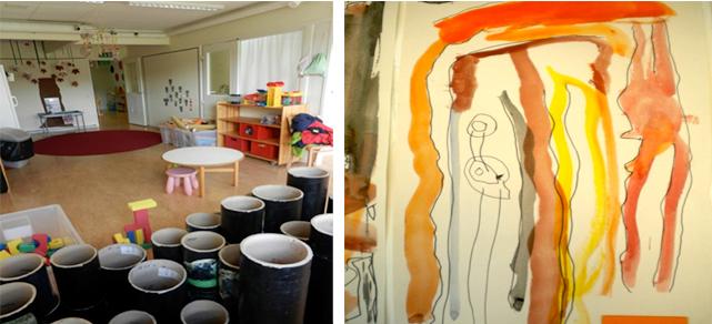 Interiör, material och målning av barn från en förskola.