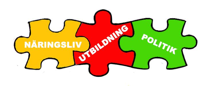 Puzzlebitar med orden Näringsliv, Utbildning och politik.
