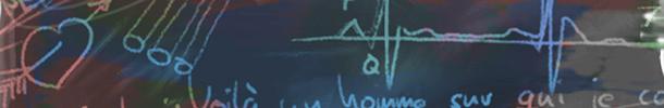 Några figurer på svarta tavlan, hjärta, text med mera.