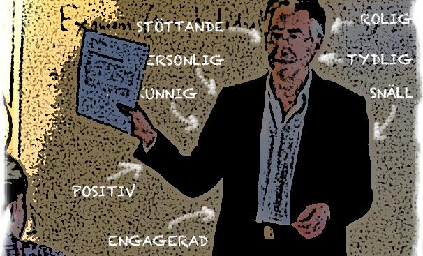Lärare framför tavla där det står egenskaper som stötande, positiv, engagerad med mera.