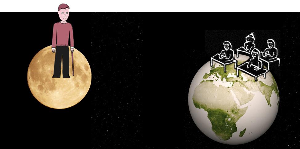 En lärare på månen ser på sina elever på jorden.